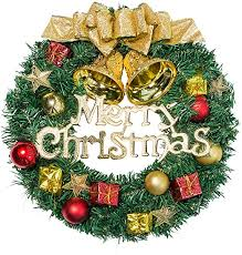 Amazon.com: UDYR 13 Inch Pine Artificial Christmas Wreath, Garland with  Bowknot, Bells, Deer, Red Berries, Flower Gifts for Christmas Party Decor,  Front Door Window Wreath: Home & Kitchen