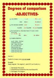 Degrees Of Comparison Adjectives Esl Worksheet By Allakoalla