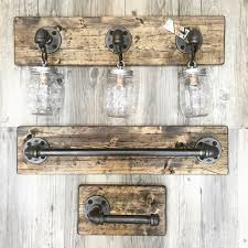 rustic bathroom vanity lights. Rustic/Industrial/Modern Handmade All In One Bathroom Set/Full Set/ Mason Jar Light / Pipe/Wood/Vanity Light/Toilet Paper Holder Rustic Vanity Lights U