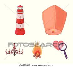a light lantern a lighthouse a fire a chandelier with candles light source set collection icons in cartoon style vector symbol stock ilration