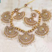 South Indian Jewellery Latest Designs Exclusive Antique White Pearls Studded Gold Plated Short Necklace Jewellery