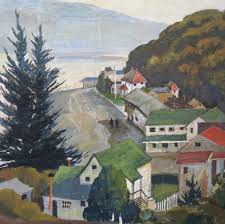 Bolinas Museum - Like these days of staying at home, parking was not a  problem in downtown Bolinas during the 1940s when this painting was  created. But Wharf Road was once bustling