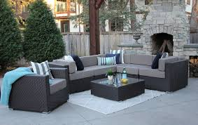 gray patio furniture. Grant 7 Piece Wicker Sofa Sectional With Club Chair And Ottoman Gray Patio Furniture R
