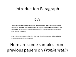 frankenstein paper introduction paragraph