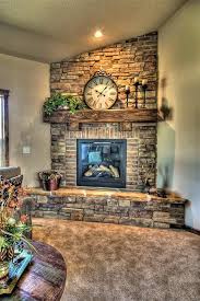 Stone and brick fireplace. This would look awesome in the corner of the  living room.--- sigh, there isn't a corner in my living room big enough for