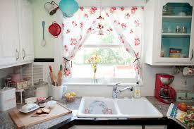 Curtain Patterns For Kitchen Interior Diy Kitchen Window Treatment With Vintage Ivory Curtain