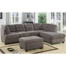 microfiber sectional sofa. Beautiful Microfiber 3 Piece Modern Large Tufted Grey Microfiber Sectional Sofa With Ottoman To
