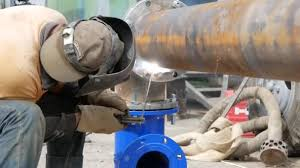Welding Pipeline Welding Pipeline Welder Worker Welding Pipe By Electrode Electrodes For Welding And Sparks