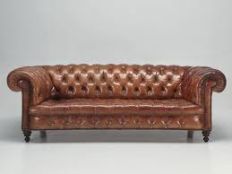 antique leather chesterfield sofa in original leather