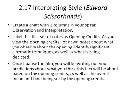 interpreting style edward scissorhands create a chart  2 17 interpreting style edward scissorhands create a chart 2 columns in your spiral