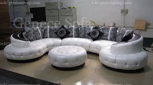 furniture cozy round leather couch