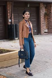 coach court bag and massimo dutti leather jacket in tan