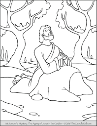 Sorrowful Mysteries Rosary Coloring Pages 1st Agony In The Garden 1