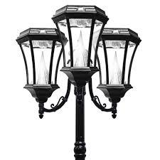 gama sonic victorian solar lamp post triple black