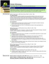 Preschool Teacher Resume Sample Teacher Resumes Teacher Resume Sample Job Search Resume