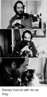Stanley Kubrick With His Cat Polly | Stanley Kubrick Meme on ME.ME