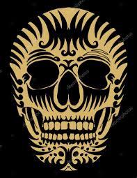 тату мексиканский череп татуировка племенных мексиканский череп