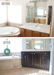 Dark Cabinet Bathroom How To Stain Oak Cabinetsthe Simple Method Without Sanding
