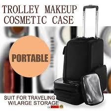 black 4 wheel rolling aluminum makeup artist lockable cosmetic train case
