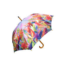 auto open birds of paradise print umbrella with wood hook handle 12 piece on on