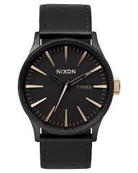 nixon sentry leather watch matte black gold surfstitch matte black gold mens accessories nixon watches a1051041mbg