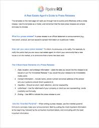 Simple Press Release Template Real Estate Agents Guide To Press Releases Pipeline Roi Help