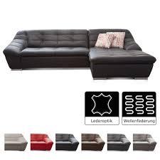 Cavadore Ecksofa Lucas Couch In Lederoptik Mit Steppung Longchair Rechts 287 X 81 X 165 Bxhxt Kunstleder Schwarz