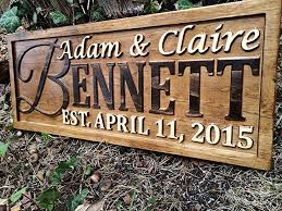 personalized family name sign personalized wedding gifts wall art rustic home decor custom carved wooden signs