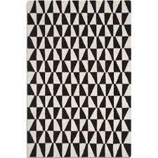 geometric wool rug black and white