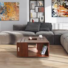 Furniture of America The Crate Square Coffee Table with Open Shelf fad 9bb5 4bce aed2 9858f193e135 600
