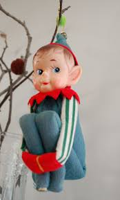Vintage Christmas Ornament Pixie Elf Knee Hugger, 1950's Large. My ...