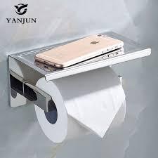 yanjun sanitary paper toilet paper holder with phone shelf self adhesive roll dispenser bathroom accessories yj