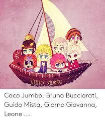 Coco Jumbo Shoes Size Chart Vento Aureo Coco Jumbo Bruno Bucciarati Guido Mista Giorno
