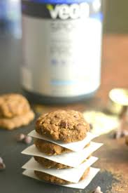 chocolate protein cookies made with six healthy ings layered with chia flax peanut