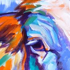 colorful abstract longhorn cow painting by theresa paden