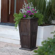 outdoor and patio grey corner tall outdoor planters with wooden