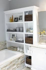 ... Bathroom:Bathroom Storage Container Ideas Bathtub Organizer Shelf  Creative Over The Toilet Storage Toilet Shelving ...