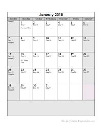 2018 Yearly Julian Calendar Free Printable Templates