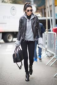 gray hoo black leather jacket turtleneck top black skinny jeans black ankle boots