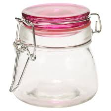 set of 3 small glass storage jar metal clamp lid air tight seal container food