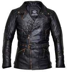 3 4 ed black long motorcycle jacket
