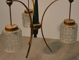 vintage italian brass murano glass chandelier 1950s