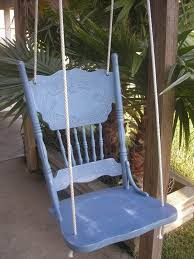 vintage chair diy repurposed into wooden swing drill holes and knot strong rope