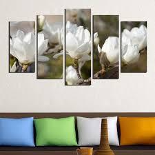 canvas wall art with white magnolia on white magnolia wall art with wall art decoration set of 5 pieces white magnolia