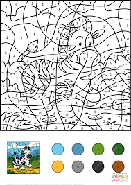 Small Picture Zebra Color by Number Free Printable Coloring Pages