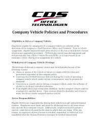 Company Vehicle Policy And Procedures Sample Company Vehicle Policy