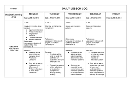 daily lesson log format daily lesson log