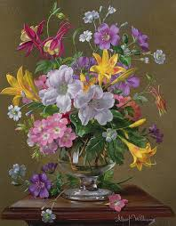 still life painting summer arrangement in a glass vase by albert williams