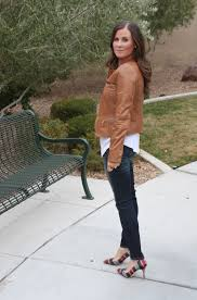 nordstrom caramel leather jacket white shirttail tee distressed skinny jeans plaid heels