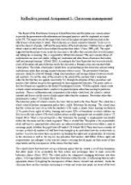 Reflective Journal Assignment 1 Classroom Management University